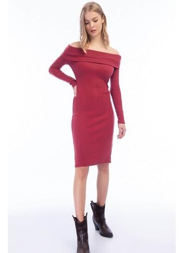 Cottonmood 9424312 Omuzu Düşük Uzun Kol Elbise Bordo